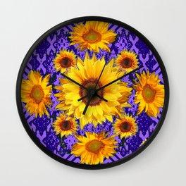 Purple Patterns Yellow Sunflowers Abstract Art Wall Clock
