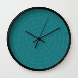 Aurora Radial Kaleidescope In Teal and Aqua Wall Clock