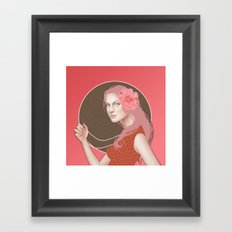 Girl Holding a Pearl Necklace Framed Art Print