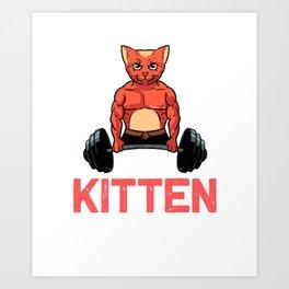 Funny My Kitten Swole On Gymnastic Workout Squat print Art Print