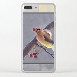 Cedar Waxwing With Berry Clear iPhone Case