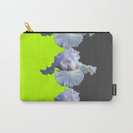 MODERN WHITE IRIS DIVIDED CHARTREUSE & GREY ART Carry-All Pouch