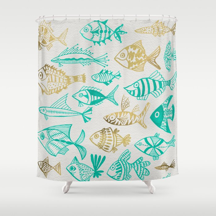 Inked Fish Turquoise Gold Shower Curtain