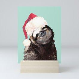 Christmas Sloth in Green Mini Art Print