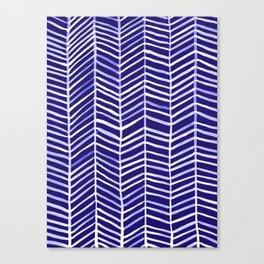 Herringbone – Navy & White Canvas Print