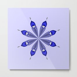 Silver and Blue Flower Metal Print