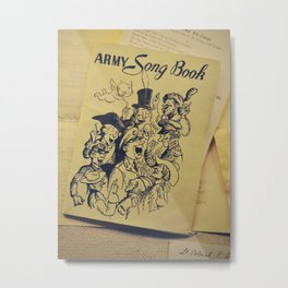 Army Song Book | Vintage Objects | Old Stationery Metal Print