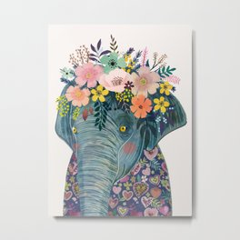 Elephant with flowers on head Metal Print