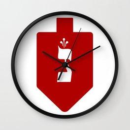 Red Hanukkah Dreidel with the Hebrew Letter Nun Wall Clock