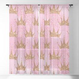 Princess Glitter Gold Crowns on Lollipop Pink Sheer Curtain