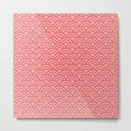 Living Coral Sashiko Metal Print