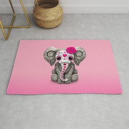 Pink Day of the Dead Sugar Skull Baby Elephant Rug