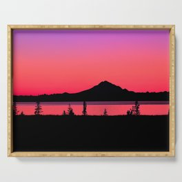 Pink Sunset Silhouette - Mt. Redoubt, Alaska Serving Tray
