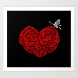 A Butterfly to be, a Rose to blossom... Art Print