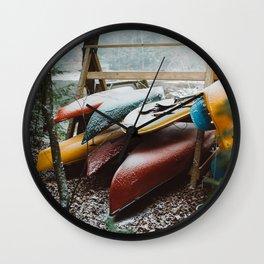 Canoes on Pleasant Lake Wall Clock