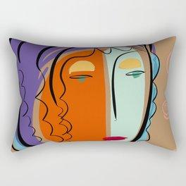 Minimal Expressionist Portrait Orange and Blue Rectangular Pillow