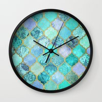 moroccan Wall Clocks featuring Cool Jade & Icy Mint Decorative Moroccan Tile Pattern by micklyn