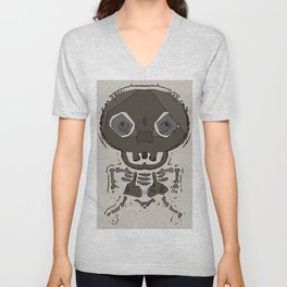 skull head and bone graffiti drawing with brown background Unisex V-Neck