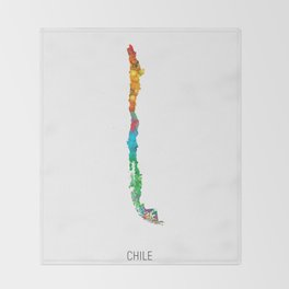 Chile Watercolor Map Throw Blanket