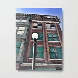 Abandoned Building with Lamp Post Metal Print