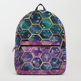 Gold Galaxy Hexagons Backpack