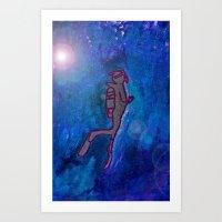scuba Art Prints featuring Scuba  by Anaasofiac