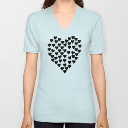 Hearts Heart Black and White Unisex V-Neck