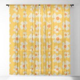 New Flower Daisy Yellow Sheer Curtain