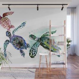 Sea Turtle Family, family art Wall Mural