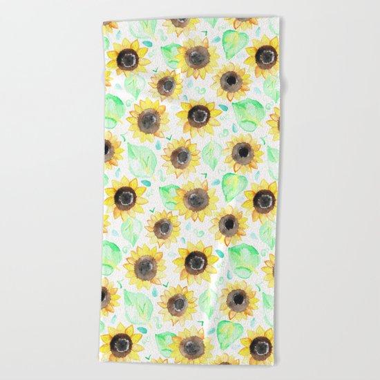 Cheerful Watercolor Sunflowers Beach Towel