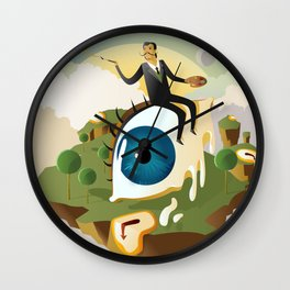 great surrealism painter on big floating eye in island with clocks Wall Clock