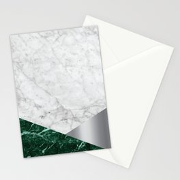 White Marble - Green Granite & Silver #999 Stationery Cards