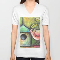 shopping V-neck T-shirts featuring House Shopping by Terri Stegmiller