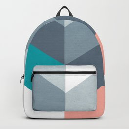 Vertical Chevron Pattern - Teal, Coral and Dusty Blues #geometry #minimalart #society6 Backpack
