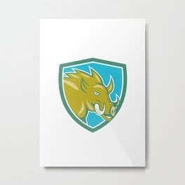 Razorback Head Charge Shield Cartoon Metal Print