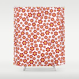 Random Red Flowers Shower Curtain