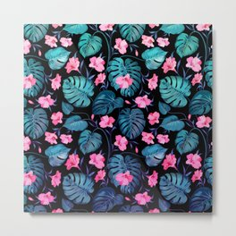 Modern neon pink blue green tropical floral illustration Metal Print