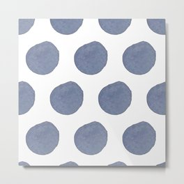 Watercolor chambray dots Metal Print