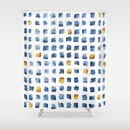 Watercolor Indigo Gold Geometrical Squares Pattern Shower Curtain