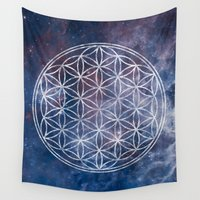 sacred geometry Wall Tapestries featuring Sacred Geometry Universe 5 by Gaudy