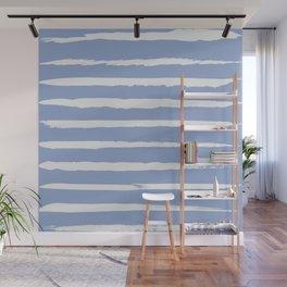 Irregular Hand Painted Stripes Light Blue Wall Mural