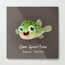 Green Spotted Puffer Metal Print