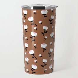Paper cut cotton boll flowers fall bloom copper Travel Mug