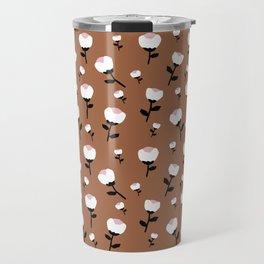 Paper cut cotton boll flowers fall bloom copper Travel Mug