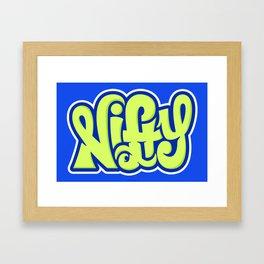 NIFTY HAND LETTERING DESIGN I (GREEN ON BLUE) Framed Art Print