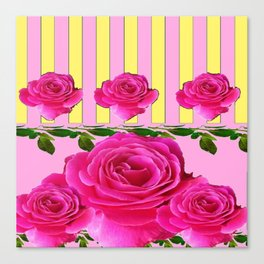 CERISE PINK SPRING  ROSE FLOWERS YELLOW STRIPES  PATTERN Canvas Print