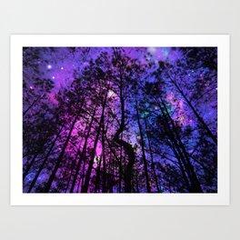 Black Trees Purple Fuchsia Blue space Kunstdrucke