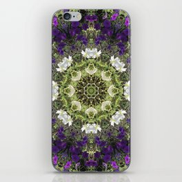 Icy White and Rich Violet Petunias Kaleidoscope iPhone Skin