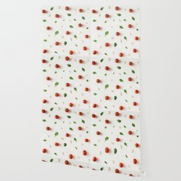 Tomatoes, basil and cheese on white background Wallpaper