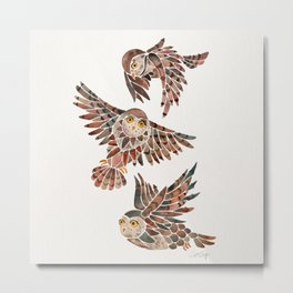 Owls in Flight – Brown Palette Metal Print